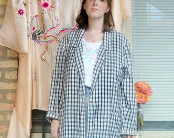 vintage 80s checkered blazer