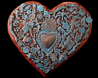 Turquoise Milagros Heart, Mexican Milagro Charms, Ex Voto, Sacred Heart, 5th Anniversary Gift, Wood Anniversary