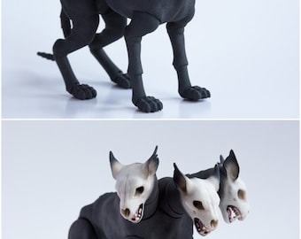 Pre order. BJD three-headed dog. 3D printed doll 7 or 9 cm at withers. BJD pets. BJD dogs. Cerberus. Articulated action dog figure.