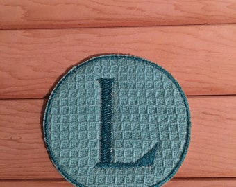 Teal Iron-On Monogram, Embroidery Letter L