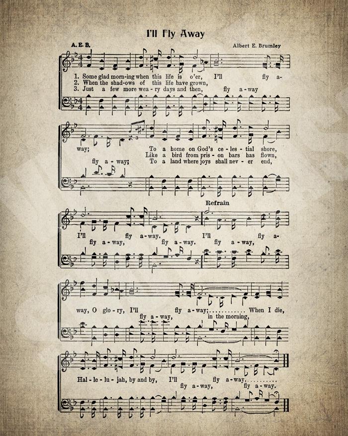 Lyric i ll fly away lyrics : I'll Fly Away Hymn Lyrics Sheet Music Art Hymn Art