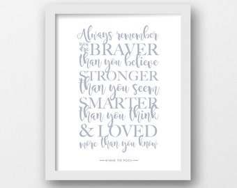 Winnie the Pooh, Always remember, PRINTABLE, Quote print, Disney quote, Gray, Minimalist, Modern wall art, Inspirational quote, Baby nursery
