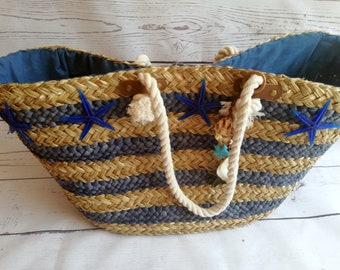 Hand decorated sailor style straw bag