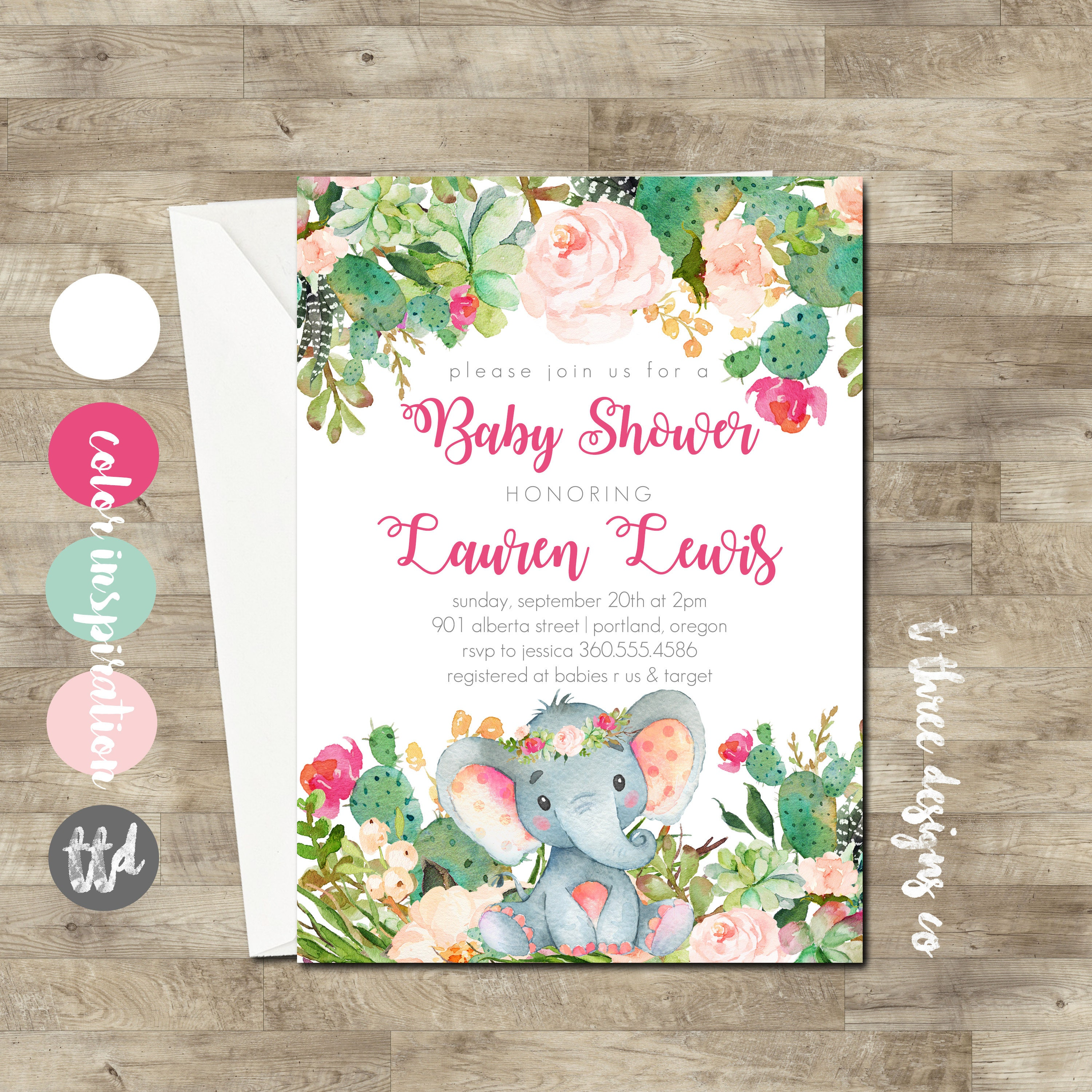 Girl Elephant Baby Shower Invitation, Succulent baby shower ...