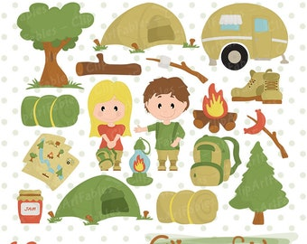CAMPING Clipart Campfire Clip Art Cute Outdoor Digital Kids Hike Graphics