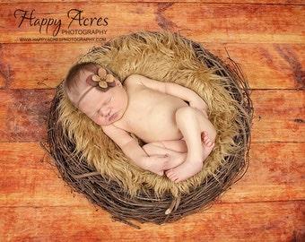 SET Caramel Faux Fur, Wood Branch Nest, Owl Nest, Bird Nest, Newborn Nest, Newborn Photography, Photo Prop