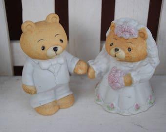 Vintage Wedding Bears Cake Topper, Teddy Bear Toppers, Wedding Cake Toppers, Teddy Bear figurines