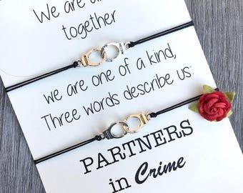Partners in crime bracelet, Matching bracelets friends, Best friend gift, Gift for friend, friendship bracelet set, friendship gift, A40