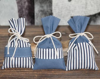 "Set of 3 Lavender sachets ""Color Navy"". Hand-made."