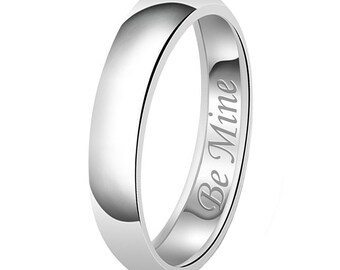 5mm Be Mine Engraved Classic Sterling Silver Plain Wedding Band Ring