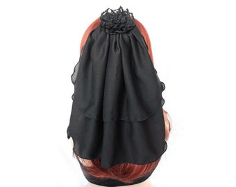 Black veil with chiffon