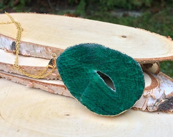 Druzy chain Agate Chain Green 50 cm or 70cm gold necklace
