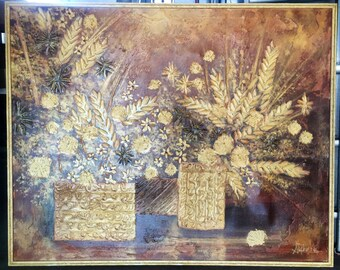 "HUGE Vintage Mid Century Impasto Oil Painting by Stephen Kaye (signed)-51""x41"""