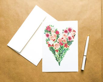 Floral Heart | Watercolor Greeting Card; Size 5x7; Happy Valentine's Day; High Quality Print; Multi-Purpose; Blank Inside; Love, Friend