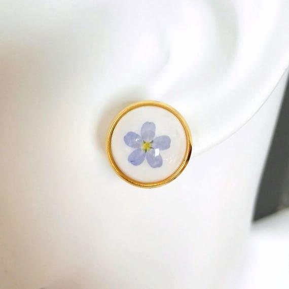 Earrings gold studs Minimal chic Pressed flower studs geometric earrings resin studs blue myosotis Bridesmaid set girlfriend anniversary