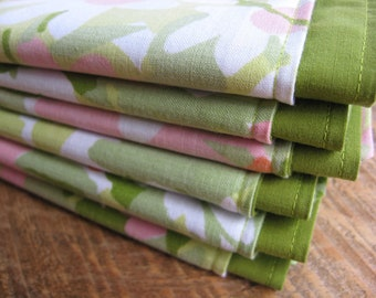 Fabric Napkins Vintage Green Pink Floral Set of 6