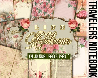 Travelers Notebook - Life Abloom Part 1 - 11 Printable Midori Insert Pages - travellers notebook, fauxdori insert, junk journal kit