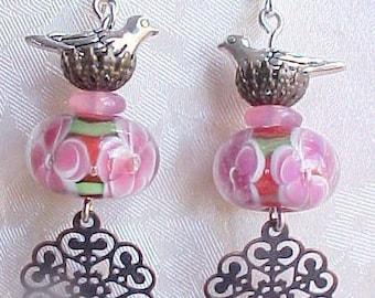 Mothers Day Gift Red Bird Earrings Red Earrings Floral Lampwork Earrings Spring Earrings Handmade Lampwork Glass Beads Gifts Women Friends