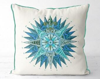 Nautical decor nautical pillows Turquoise accent pillow beach decor Nautical Star beach house decor coastal home coastal living beach pillow