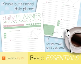 DAILY ORGANISER, daily planner, daily planner, menu planner, goal planner, incentive rewards, A4, A5, US letter, downloadable, printable