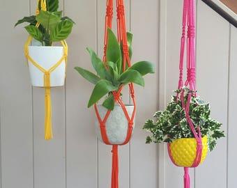 Trio of  Macrame Plant Hangers - Yellow, Pink and Orange