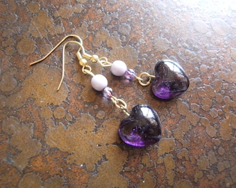 Purple Hearts Glass Czech Fire Polish and Acrylic Beaded Dangle earrings