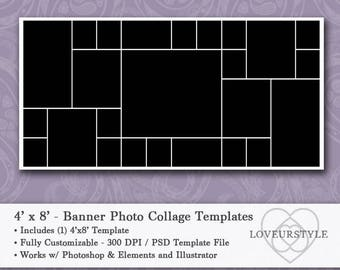 4'x8' Foot Photo Collage Banner Template - Holds 25 Images, Banner Template, Collage Template, Photo Template, Instant Download