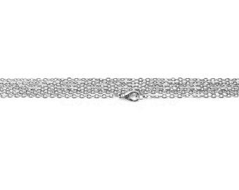 "10 Pk - 24"" Antique Silver (Platinum) Rolo Chain Necklaces - 2x3mm Oval Flat Links - 24 Inch Antique Style Cable Chains - 2mm x 3mm"