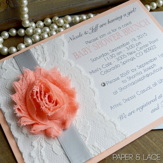Lace Baby Shower Invitation - Chiffon Flower Invitation - Peach and Silver Invitation with Ivory Lace - Baby Shower Invite (NICOLE)