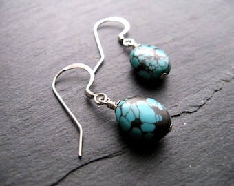 Turquoise, Sterling Silver Dangle Earrings