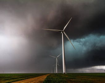 Wind Farm Photography Art Print - Picture of Wind Turbines During Storm in Texas Panhandle Renewable Energy Home Decor 4x6 to 30x45