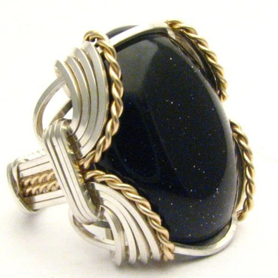 Handmade Wire Wrap Sterling Silver/14kt Gold Filled Goldstone Ring