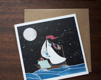 Greeting Card Ocean Sail Boat Bon Voyage - Cut Paper Dream - Life is But a Dream by Paper Taxi