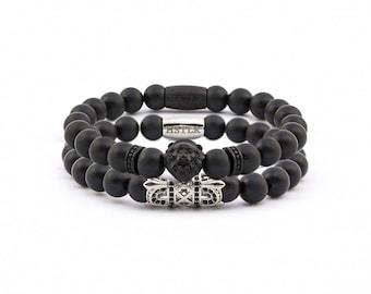 Majestic Lion Stack, Lion Bracelet, Majestic Bracelet, Onyx gemstones
