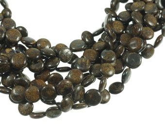 """Bronzite 10mm Flat Coin Gemstone Beads - Full 16"""" Strand - About 39 Beads - Natural Chocolate Brown Stone"""