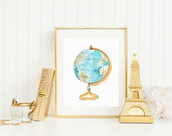 Globe Art Print (Travel Art - Travel Decor - World Map Print - Wall Art)