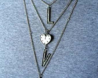 Inspirational LOVE Necklace ~ Motivational Necklace ~ Layered Charm Necklace ~ Layered Chain Necklace ~ Long Layered Necklace ~ LOVE