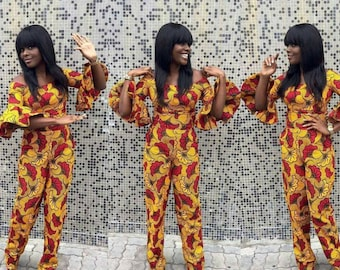 African Print Jumpsuit with Bell Sleeves