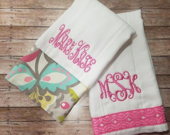 Personalized girl burp cloth diaper baby shower gift