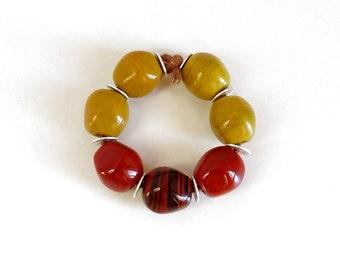 Glass beads Lampworkperlen lampwork beads Red brown pistachio cedar opaque nuggets Murano glass handmade