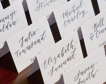 Tent place cards | handwritten wedding calligraphy | event escort cards
