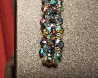 Crystal and Glass Bead French Hair Barrette 1.5 inch