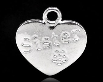 Silver Plated, Sister Heart charms