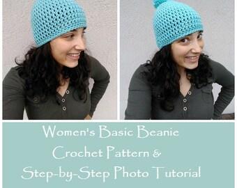 CROCHET PATTERN - Women's Basic Beanie, Step-by-Step Photo Tutorial. Crochet Women's Hat, Crochet Teens Hat, Beginner Crochet Pattern