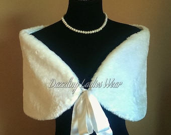 50's Style Faux Fur Stole With Ribbon UK 8-20 / US 4-16 /  Bolero / Shrug / Jacket / Shawl / Wrap / Satin Lining Colour: Black or Ivory