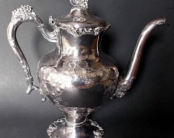 Antique Barbour Silver Plate Coffee Pot Grape Vine Pattern  5336
