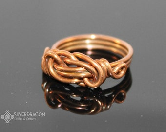 Knot Wire Wrapped Ring in Permanently Colored Copper