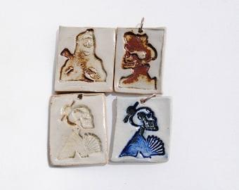 ceramic pendant, Frida skeleton necklace, skull pendant, dia de los muertos
