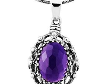 Silver Pendant, Purple CZ pendant, Gemstone pendantl, Sterling silver, handmade