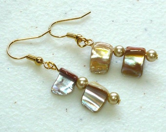 Golden Shell Earrings, Woman's Drop Earrings, Natural Shell & Glass Beads, Nickle-Free Earrings, Handmade Jewelry, Stocking Stuffer for Her